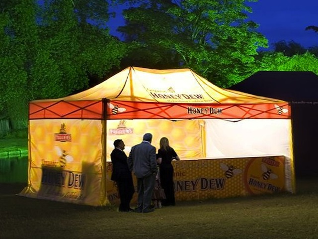 Rectangular 4.5m x 3m branded gazebo marquee in yellow and orange